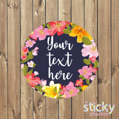 Personalised Customisable Stickers - Bright Floral Design